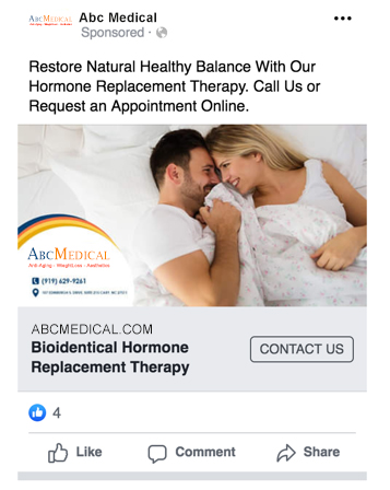 Example of Facebook Ads for Doctors