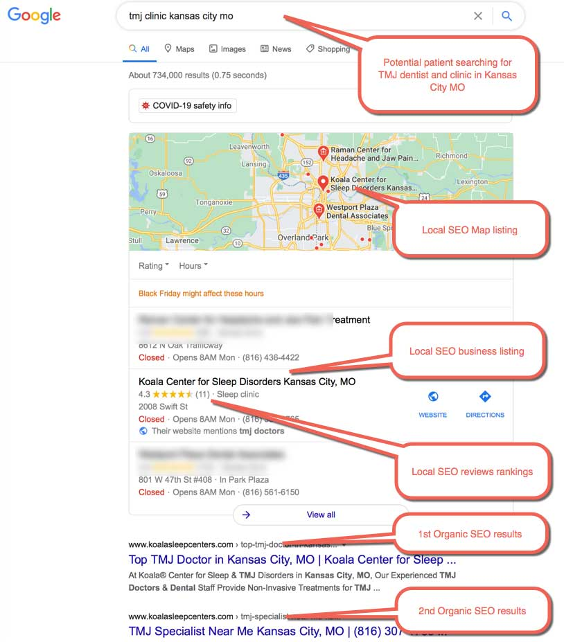 Dental SEO Example 3: Patient searching for TMJ dentist and clinic for jaw pain treatment. Patient located in Kansas City MO