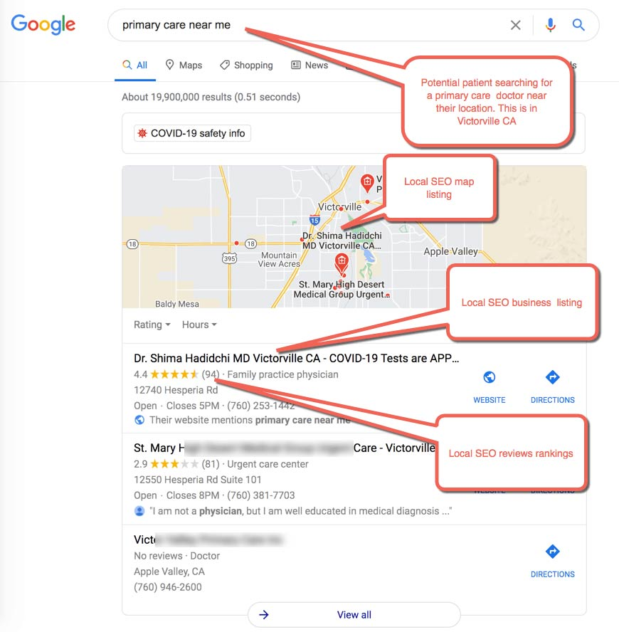"""Local Medical SEO Example 3 :  Mobile Patient Searching for """"primary care near me"""", patient is located in Victorville CA"""
