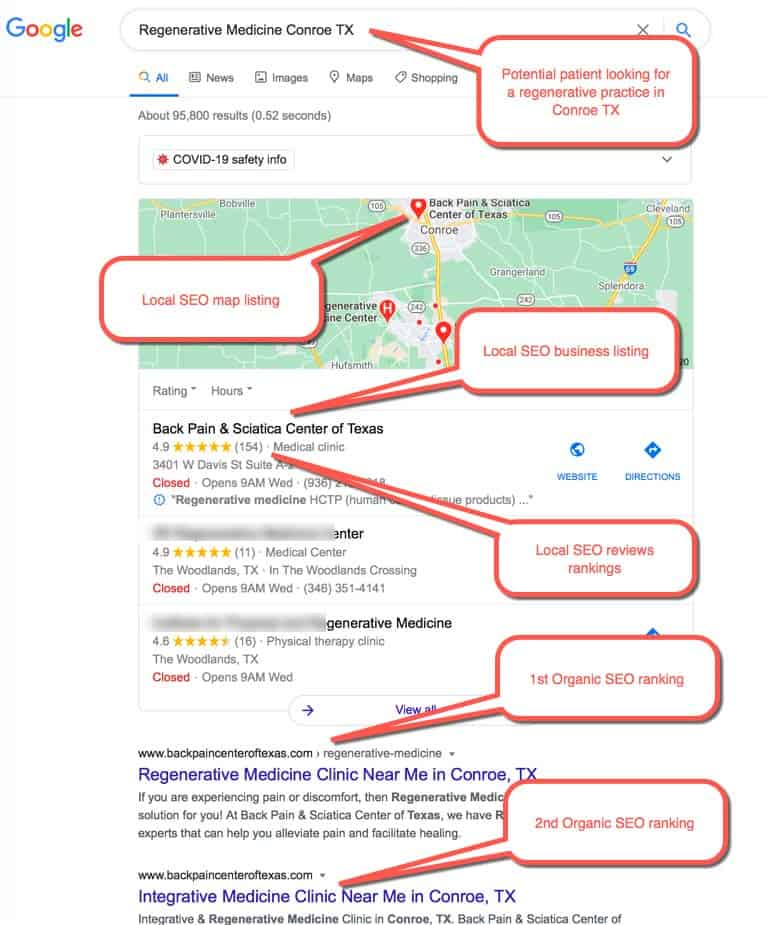 "Example of a Medical SEO results: Patient searching for ""Regenerative medicine near me"""