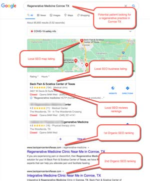"Medical SEO Example 2 :  Patient Searching for ""regenerative medicine "" user is located in Conroe TX"