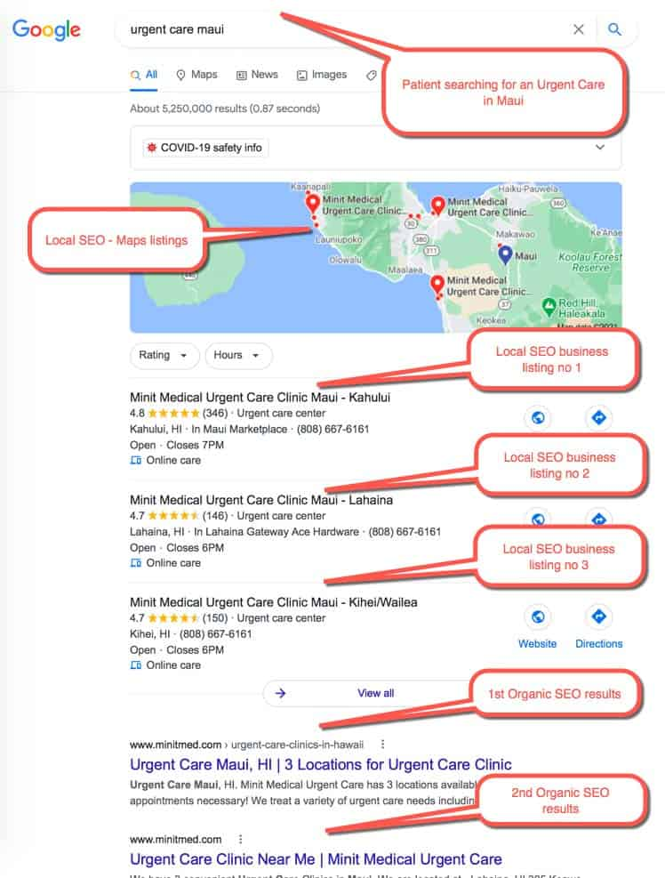 "Medical SEO Example 1 :  Patient Searching for "" urgent care maui "" user is located in Maui, Hawaii"