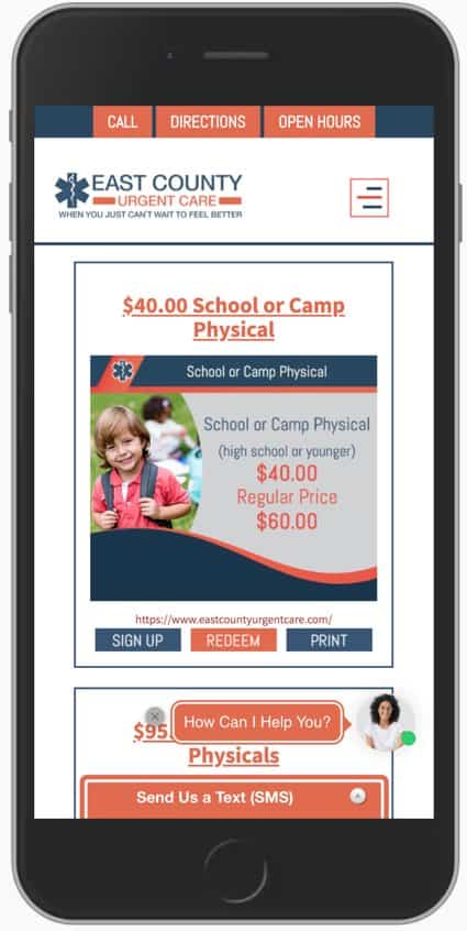 Example of Promotions app for Urgent Care Clinics