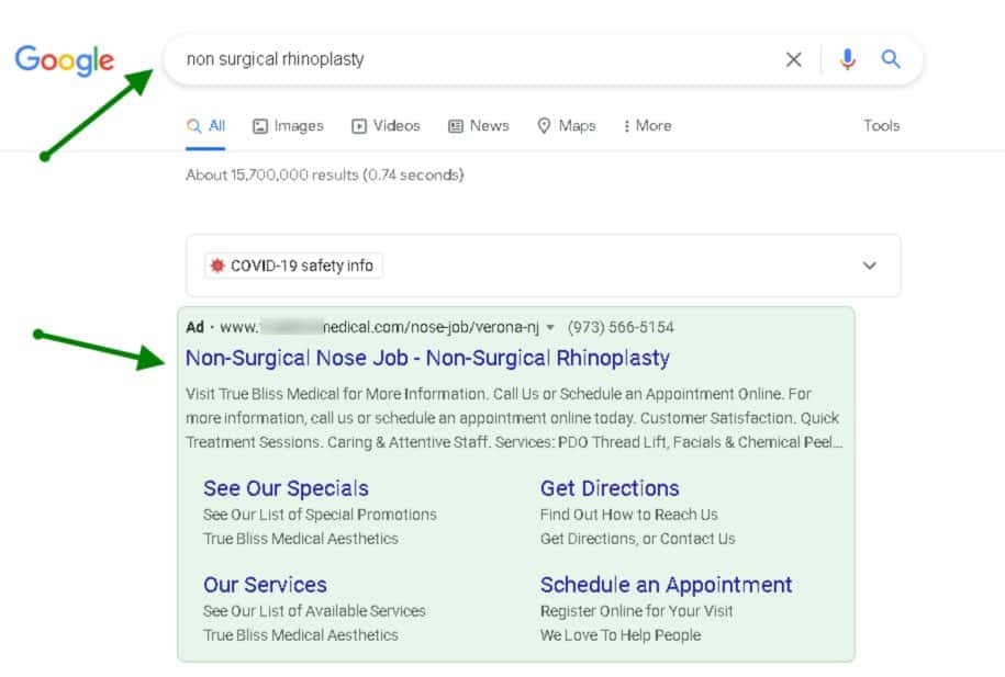 Example of a digital ad - promoting non-surgical rhinoplasty in New Jersey area
