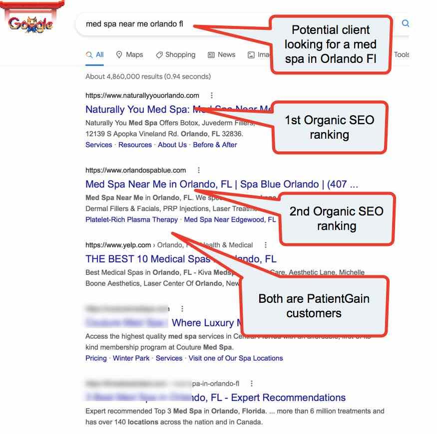 Example no 2 MedSpa Marketing - Presence on Google SEO