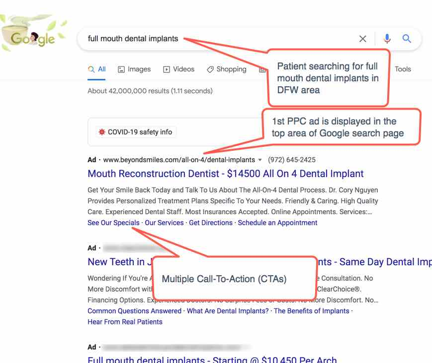 Example of an Google Pay-Per-Click Ad With Multiple Call To Actions